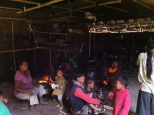 Each hut we visited had a open fire kitchen in the hut - making many of the huts very smoky.  No chimney!