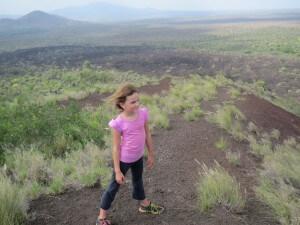 Keir and Zoe climbed a small valcano.