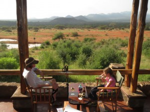 We stopped at this lodge for a map and couldn't resist a drink on their patio overlooking a watering hole.