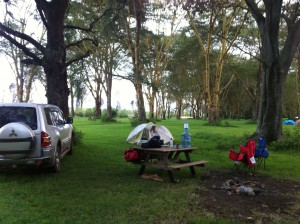 We love camping at Carnelley's in Naivasha.  Lots of grass, right on the lake, lots of shade and a great camp restaurant.