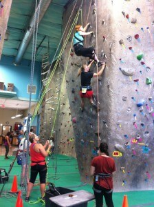 Adaptive rock climbing.  We had fun at this gym, where Zoë did a bunch of climbing as well.
