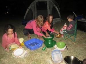 Camping in Ol Pajeta with friends.  The kids were great about doing the dishes.