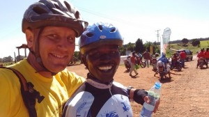 Biking the 10-4 (10,000 to 4,000 feet on Mt Kenya, a spectacularly beautiful day.