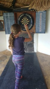 Playing darts at Island Camp in Lake Baringo.