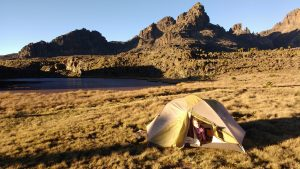 Camping by ourselves at Minos Tarns at 4300m.