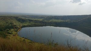 A crater lake in Queen Elizabeth.  There are dozens of these beautiful lakes in this area.