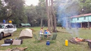 Camping in Kakamega.  We enjoyed a flat campsite with noone there and a great view of both the forest and the stars!