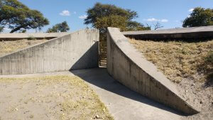 This is the inside wall of the bathrooms at Savuti Camp in Chobe Park - the fortified walls are to keep the elephants out!