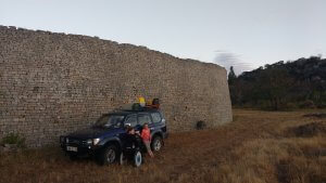 To get Robyn up to the site, they allowed us to drive right up to the wall of Great Zim.
