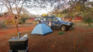 Camping near Tsavo on our last night.