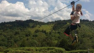 Zip-lining outside Nairobi.