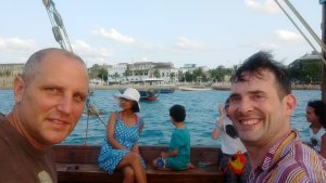 On a dhow ride of stone town.